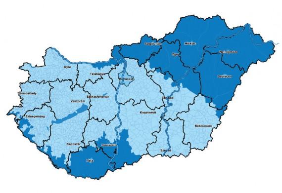 Digitális átállás térkép